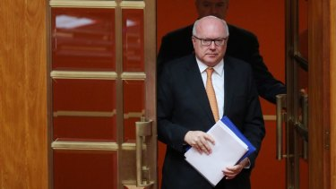 Attorney-General Senator George Brandis in the Senate on Monday.