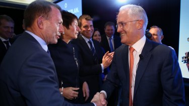 Prime Minister Malcolm Turnbull and Tony Abbott during the election campaign.