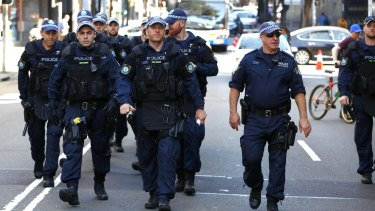 Police on the streets of Parramatta on Friday.