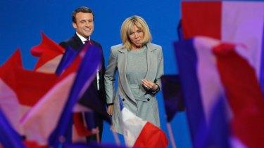 Emmanuel Macron and his wife Brigitte last month.