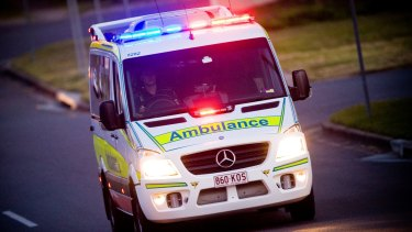 A man was rushed to hospital after skin was ripped from his head at a worksite at Logan.
