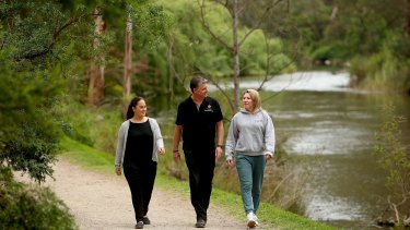 Warrandyte locals (from left) Emily Whitmore, Peter Appleby and Kellie Appleby enjoy the tranquility.