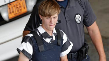Dylann Roof is escorted from the Cleveland County Courthouse in Shelby, North Carolina, in June 2015.