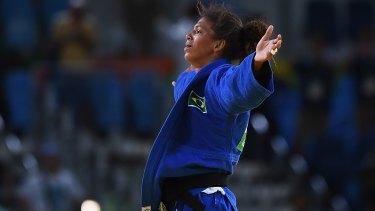 Rafaela Silva of celebrates after winning gold.
