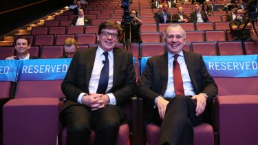 Telstra chief financial officer Warwick Bray, left, and chief executive officer Andrew Penn at a Telstra investor day.