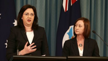 Premier Annastacia Palaszczuk and Attorney-General Yvette D'Ath speak at a press conference. The government will move to expunge historical gay convictions.