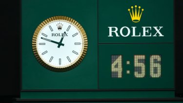 The clock at the end of the marathon match.