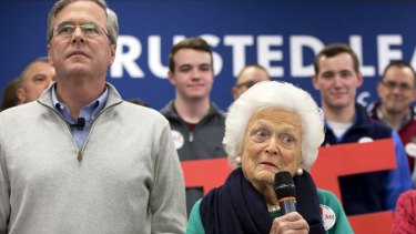 Barbara Bush, mother of Republican presidential candidate Jeb Bush, introduces her son at a town hall meeting in Derry, New Hampshire, earlier this month.