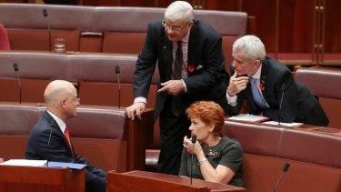 Liberal Democrat senator David Leyonhjelm and One Nation senators Brian Burston, Pauline Hanson and Malcolm Roberts.