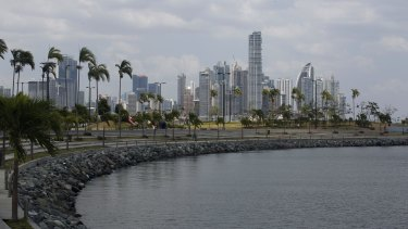 The skyline of Panama City in Panama.