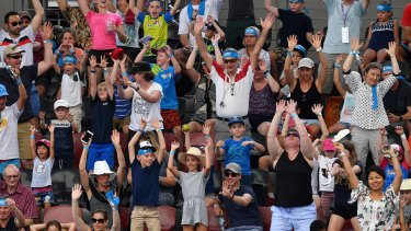Tennis crowds where whipped into a frenzy at the Kids Tennis Days at the Australian Open, and here, the Brisbane International.