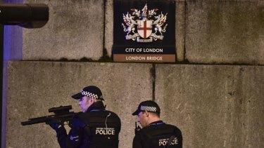 Armed police on London Bridge.