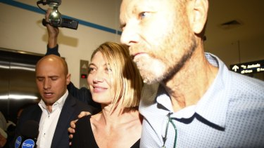 Tara Brown and Stephen Rice arrive at Sydney International Airport after the Beirut saga.
