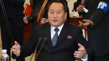 Ri Son Gwon, chairman of North Korea's Committee for the Peaceful Reunification of the Fatherland, at the meeting.