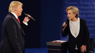 Republican nominee Donald Trump and his Democrat opponent Hillary Clinton square off in the second presidential debate.