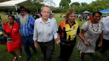 Opposition Leader Bill Shorten at a Sorry Day event in Darwin on Thursday with ALP candidate for Territory seat of Karama, Ngaree Ah Kit, senator Pat Dodson, Eileen Cummings who was removed as a 4-year-old and senator Nova Peris.