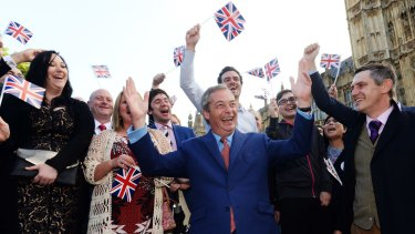 Nigel Farage and his supporters celebrate their victory in the EU referendum.