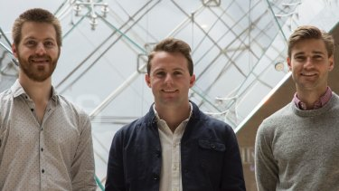 The Australian founders of travel app Tenderfoot (L-R) Mitch Pascoe, Lucas Lovell and Charles Inglis.