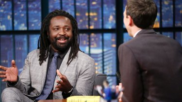 Author Marlon James during an interview with host Seth Meyers on <em>Late Night with Seth Meyers</em>.