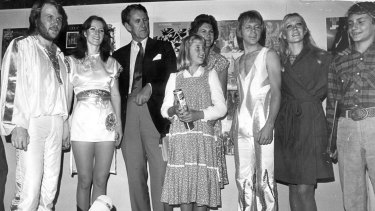 Malcolm Fraser and his family meet ABBA before the concert backstage at the Sidney Myer Music Bowl.