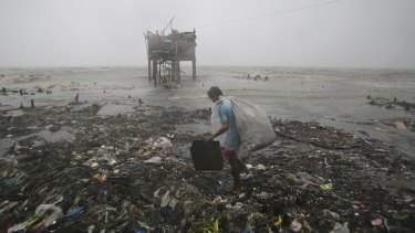A Filipino man scavenges recyclable materials near a house on stilts as strong winds and rains caused by Typhoon Koppu hit the coastal town of Navotas, north of Manila.