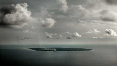 An aerial picture of Nauru, where Australia houses hundreds of refugees and asylum seekers.