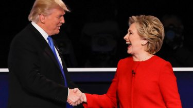 Clinton and Trump shook hands, then the gloves were off.
