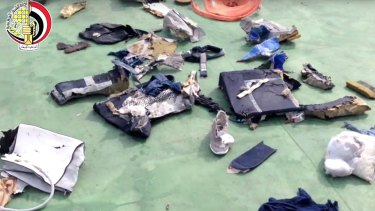Debris and personal belongings from MS804, including a shoe, which were recovered from the sea.