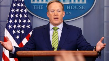 White House press secretary Sean Spicer pushed Trump's message on the media's reporting on terror attacks.