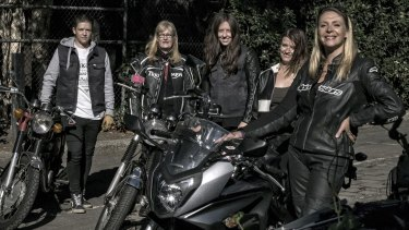 Women motorbike enthusiasts Susan Berg, Gillian Southworth, Hilary Pearce, Kayla Wilson and Simoen Van Der Meent.