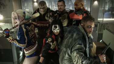 The Suicide Squad crew (from left) Margot Robbie as Harley Quinn, Adewale Akinnuoye-Agbaje as Killer Croc, Joel Kinnaman as Rick Flag, Will Smith as Deadshot, Jai Courtney as Captain Boomerang and Karen Fukuhara as Katana.