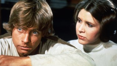 Mark Hamill and Carrie Fisher as Luke Skywalker and Princess Leia.
