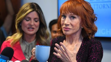 Kathy Griffin, right, talks about the backlash since she released a photo and video of her displaying a likeness of President Donald Trump's severed head.