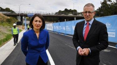 Urban Infrastructure Minister Paul Fletcher with NSW Premier Gladys Berejiklian opening part of West Connex.