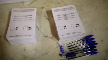 Ballots ready to be used by voters in Sant Julia de Ramis, near the city of Girona.