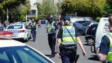 """Residents said six police cars plus """"Department [of Human Services] people, Yarra [council] people,"""" descended on Bendigo Street on Friday."""