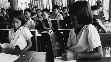 Laotian refugees at a school in Nan Province, Thailand, 1979.