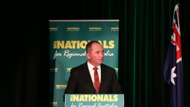 Agriculture Minister Barnaby Joyce at the Nationals federal conference in Canberra on Saturday.