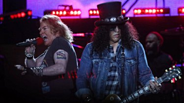 Guns N' Roses singer Axl Rose (left) and guitarist Slash perform at the MCG on Tuesday night.