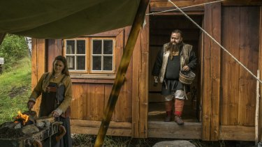 Jeppe Nordmann Garly, the director of a government-funded training course on how to live like a Viking, and his girlfriend, Linnea Bang-Madsen, in Seljord, Norway.