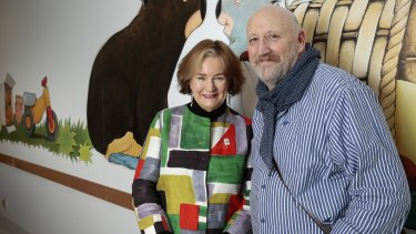 Jackie French with artist Bruce Whatley, the illustrator of her award-winning picture book series that began with <i>Diary of a Wombat</i>.