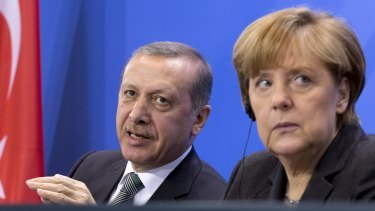 German Chancellor Angela Merkel and Turkish President Recep Tayyip Erdogan during a joint press conference on April 15.