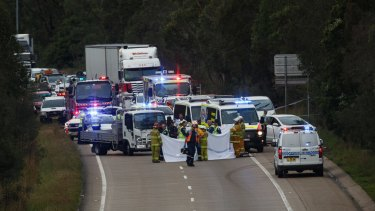 Emergency services at the scene of a fatal accident on the M1 Motorway at Cameron Park, between George Booth Drive and Link Road.