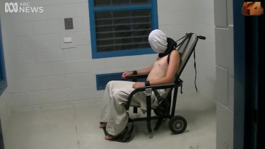A scene from the <i>Four Corners</i> program, at the Don Dale Detention Centre.