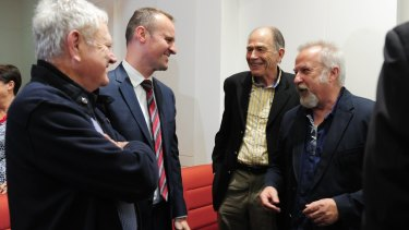 Chief Minister Andrew Barr, second from left, with former Labor figures Wayne Berry, second from right, and David Lamont, right.