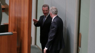 Leader of the house Christopher Pyne and manager of opposition business Tony Burke in the parliamentary chamber earlier this year.