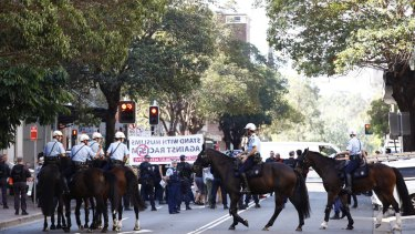 Police in Parramatta on Friday afternoon.