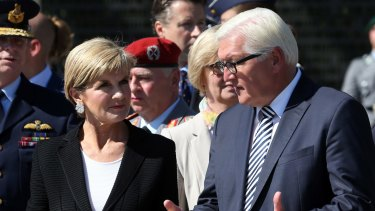 German Minister of Foreign Affairs Frank-Walter Steinmeier, right, talks with Australian Foreign Minister Julie Bishop in Berlin.