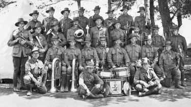 Robert Coombes, an Anzac in the 13th Battalion band (he is in the back row, third from the left).