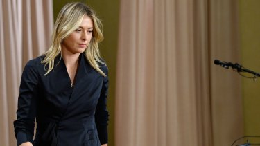 Maria Sharapova prepares to address the media.